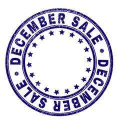 grunge textured december sale round stamp seal vector image