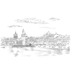 Hand drawing prague vector