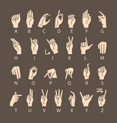 Hand drawn sketch of finger spelling the alphabet vector