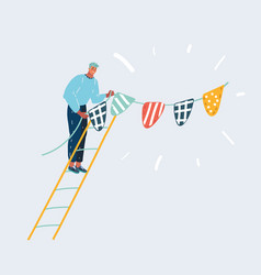 Hanging flags bunting garland on wall vector