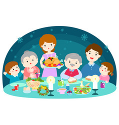 Happy family having a christmas dinner vector