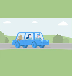 happy family traveling together by car vector image