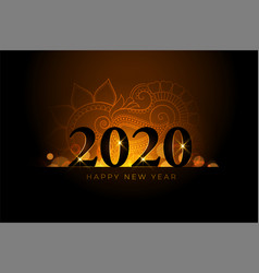 happy new year 2020 beautiful golden background vector image
