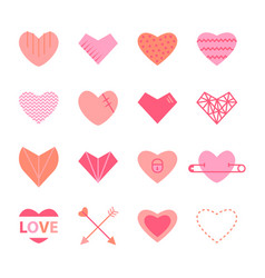 Hearts flat icon set in pink colors vector