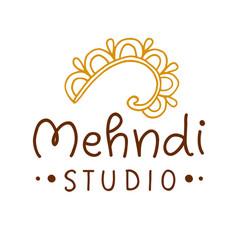 Henna mehndi drawing ethnic tattoo studio logo vector