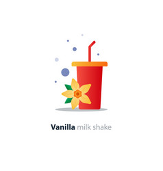 High glass of milk shake with vanilla flower vector