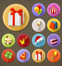Holiday and gifts long shadow icon set vector image