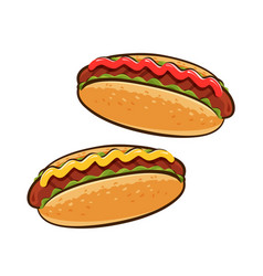 Hot dogs american food sandwich concept cartoon vector