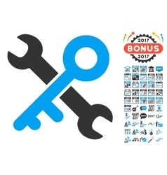 Key Tools Icon With 2017 Year Bonus Pictograms vector