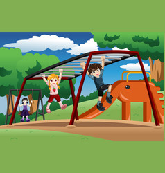 Kids playing on a monkey bar at the playground vector