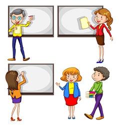Male and female teachers vector image