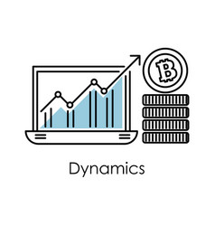 Marketing and finance bitcoin dynamics graphic in vector