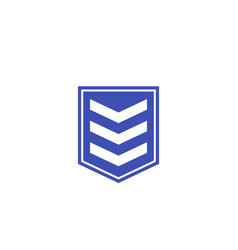 Military rank chevron icon on white vector