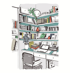 Modern interior home library bookshelves vector