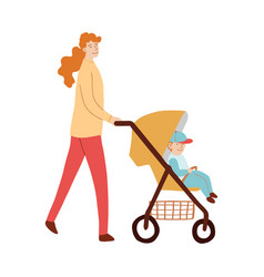 Mom with child walking with baby vector