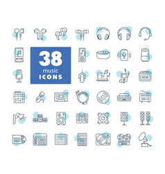 Multimedia devices and symbols icons set vector