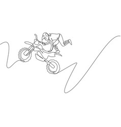 one continuous line drawing young motocross vector image