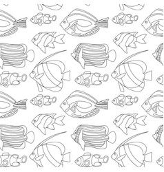 outlined coral fishes seamless pattern tile vector image