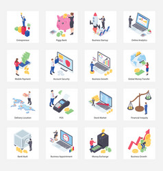 Pack finance isometric icons vector