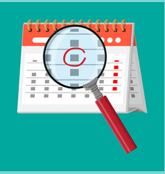 paper spiral wall calendar magnifying glass vector image