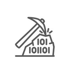 Pickaxe with binary stone code blockchain vector
