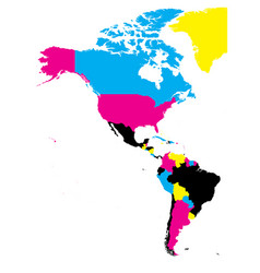 Political map of americas in cmyk colors on white vector