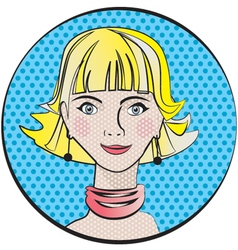 Portrait of a young girl in pop art style vector