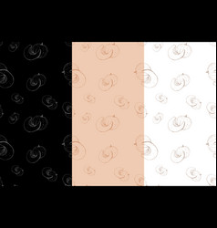 pumpkin hand drawn sketch seamless pattern set vector image