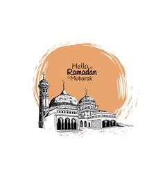Ramadan mubarak with mosque hand drawn isolated vector