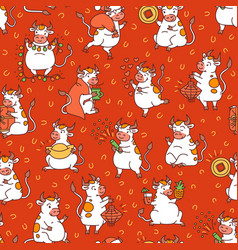 red christmas seamless pattern with set vector image