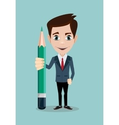 Reporter with pencil Thinking creative work vector