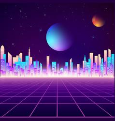 retro city landscape in neon colors cyberpunk vector image