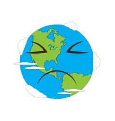 Sad earth emote earth day vector
