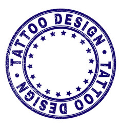 scratched textured tattoo design round stamp seal vector image