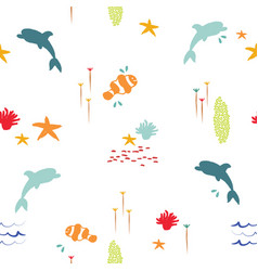 Sea fish doodle summer pattern background vector