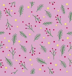 Seamless christmas pattern with green fir twigs vector