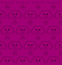 seamless pattern funny cute cats faces vector image