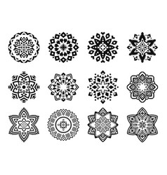 set mandalas with a round floral geometric vector image