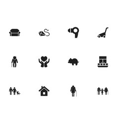Set of 12 editable folks icons includes symbols vector