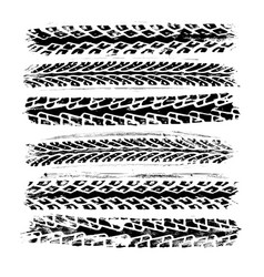 set of 6 realistic rubber tire track imprints vector image