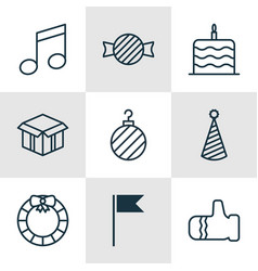 Set of 9 happy new year icons includes vector