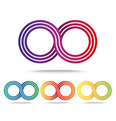 Set of colored infinity signs isolated on white vector