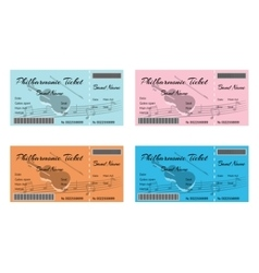 Set of Colorful Philharmonic Tickets with Violin vector
