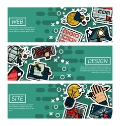 Set of Horizontal Banners about web design vector