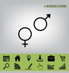 sex symbol sign black icon at gray vector image