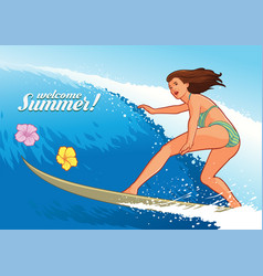 sexy surfer girl vector image