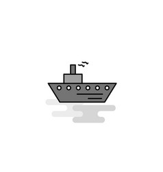 ship web icon flat line filled gray icon vector image