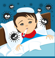 Sick child in bed and viruses vector