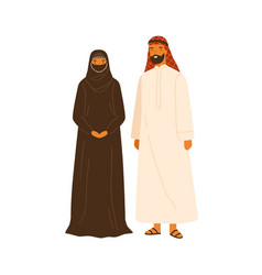 smiling arabic couple in traditional apparel vector image