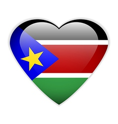 South Sudan flag button vector image